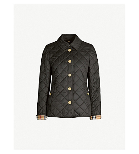 BURBERRY Check-print quilted shell jacket (Black