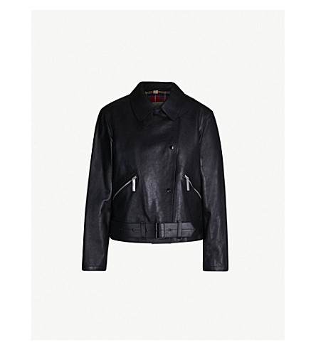 BURBERRY Burnham leather biker jacket (Black