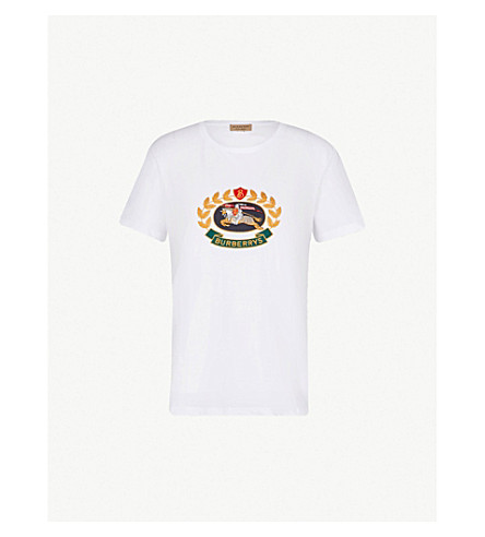 BURBERRY 沟顶平纹针织棉 T 恤 (白色