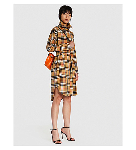 BURBERRY Isotto checked cotton shirt dress (Antique+yellow