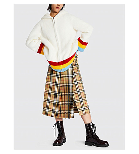 Craven rainbow striped faux-shearling jacket(8003560)