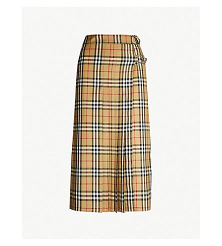 BURBERRY Broye checked wool kilt skirt (Antique yel ip chk