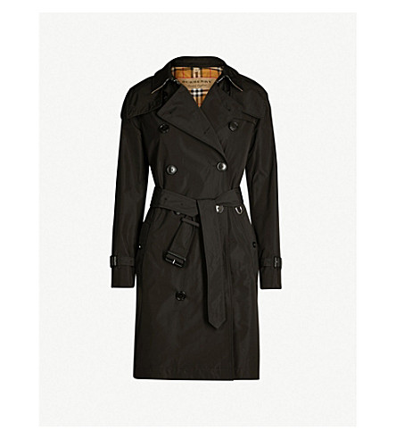 BURBERRY The Kensington check-lined cotton-gabardine trench coat (Black