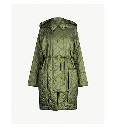 BURBERRY Coleraine quilted shell coat (Cadet green