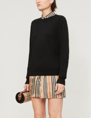 Bempton checked-trim wool jumper