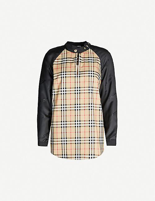 BURBERRY 奥蒂格纹弹力棉和 缎布衬衫