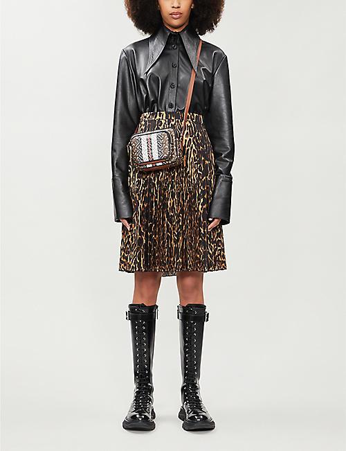 BURBERRY豹纹褶皱编织中长裙