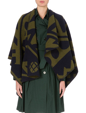 BURBERRY Wool and cashmere-blend blanket cape