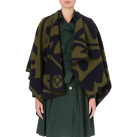 BURBERRY Wool and cashmere-blend blanket cape (Bright olive/navy