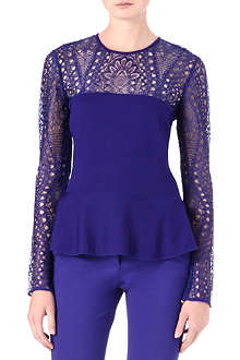 EMILIO PUCCI Lace-detailed peplum top