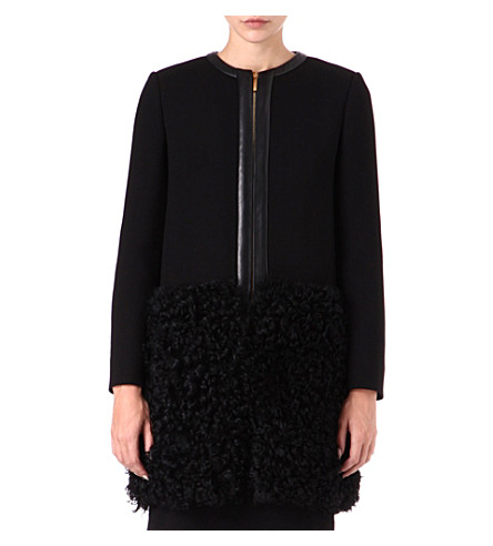 EMILIO PUCCI Shearling-panel wool coat (Black