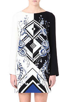 EMILIO PUCCI Long-sleeve contrast silk dress