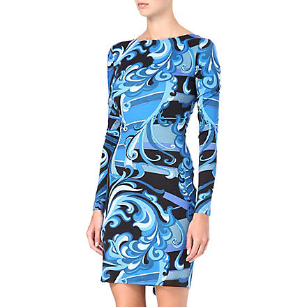 EMILIO PUCCI Ruffle-back printed dress (Blue