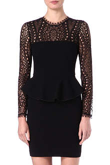 EMILIO PUCCI Lace-detailed peplum dress