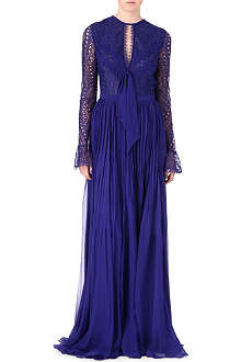 EMILIO PUCCI Long-sleeved open-back lace gown