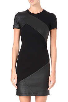 EMILIO PUCCI Leather and stretch-knit panel dress