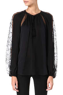 EMILIO PUCCI Lace panel silk blouse
