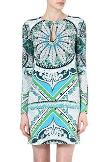 EMILIO PUCCI Printed keyhole silk mini dress