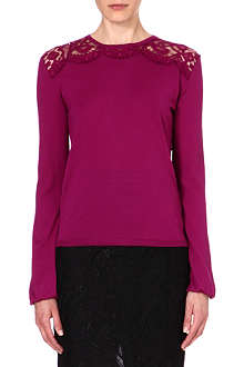 EMILIO PUCCI Lace-panel knitted wool jumper