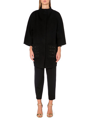 EMILIO PUCCI Embellished-pocket wool and angora-blend coat