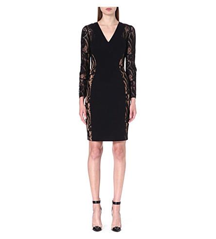 EMILIO PUCCI Lace-panel stretch-crepe dress (Black