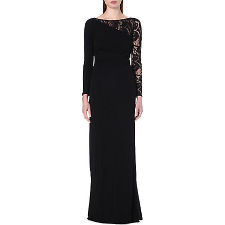 EMILIO PUCCI Lace-sleeve crepe gown (Black