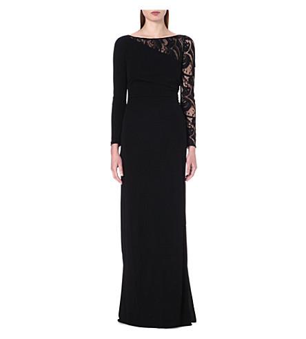 EMILIO PUCCI Lace-sleeve crepe gown (Black