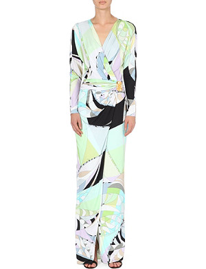 EMILIO PUCCI Printed cross-over jersey gown
