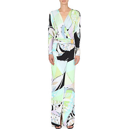 EMILIO PUCCI Printed cross-over jersey gown (Green