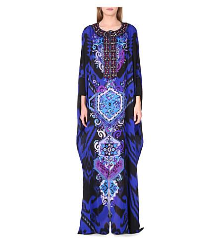 EMILIO PUCCI Embellished printed silk kaftan (Blue