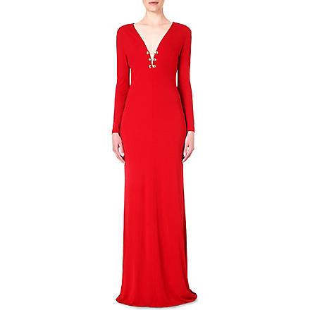 EMILIO PUCCI Chain-detail jersey gown (Red