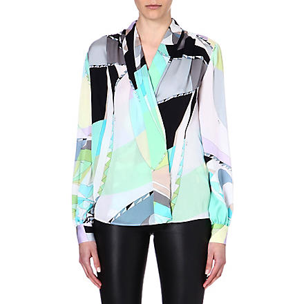 EMILIO PUCCI Printed silk shirt (Green