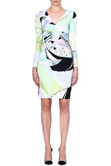 EMILIO PUCCI V-neck printed crepe dress