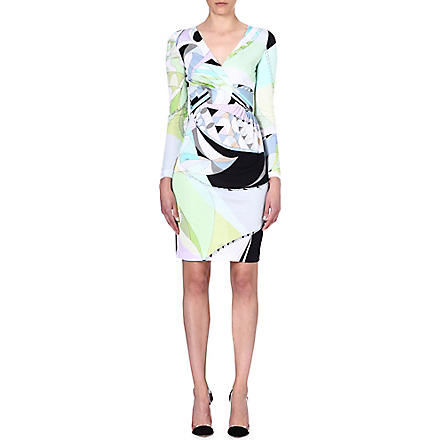 EMILIO PUCCI V-neck printed crepe dress (Green