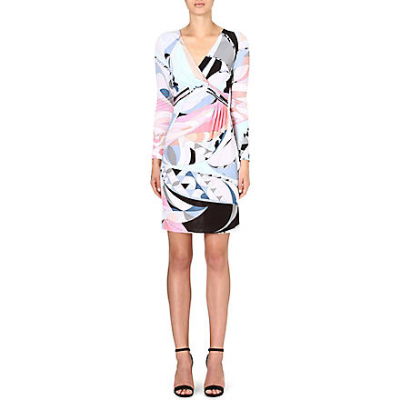 EMILIO PUCCI Ruched printed dress (Pink