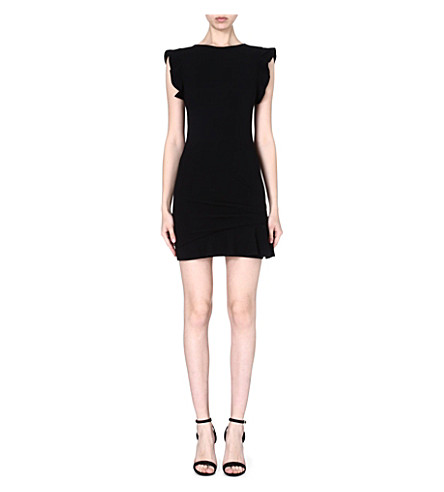 EMILIO PUCCI Frilled-shoulder stretch-wool dress (Black