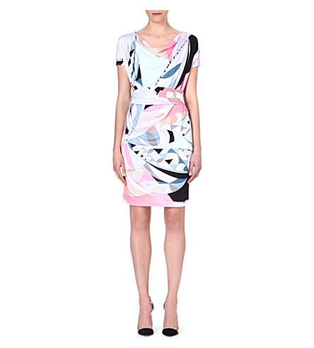 EMILIO PUCCI Cowl-neck printed crepe dress (Pink