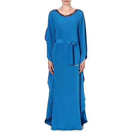 EMILIO PUCCI Embellished belted silk kaftan (Blue