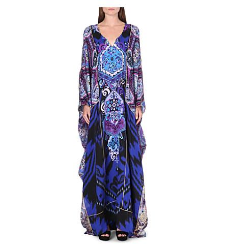 EMILIO PUCCI Printed patchwork silk kaftan (Blue