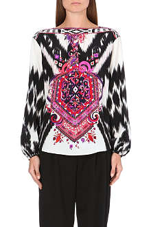 EMILIO PUCCI Printed balloon-sleeve silk top