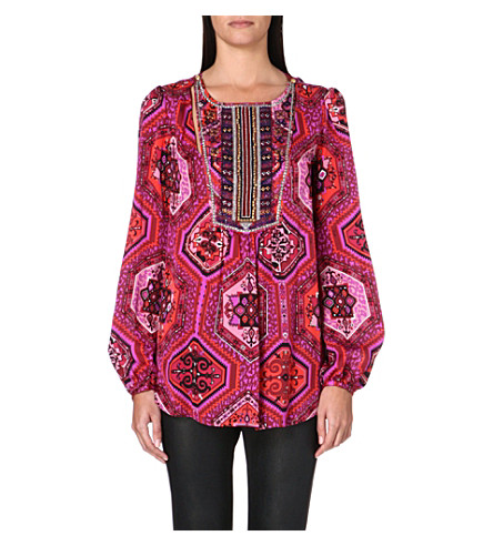 EMILIO PUCCI Embroidered silk blouse (Red