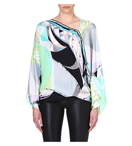 EMILIO PUCCI Printed silk top (Green