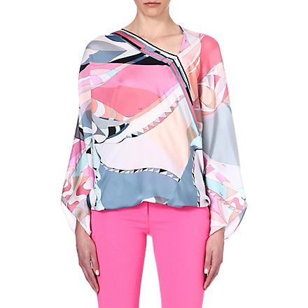 EMILIO PUCCI Printed silk top (Pink