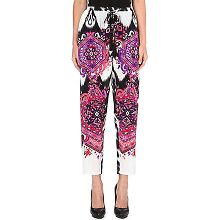 EMILIO PUCCI Printed tapered silk trousers (White
