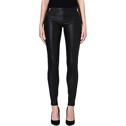 EMILIO PUCCI Zip-detail leather leggings (Black