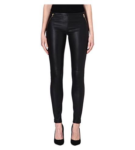 EMILIO PUCCI Zip-detail leather leggings (Black