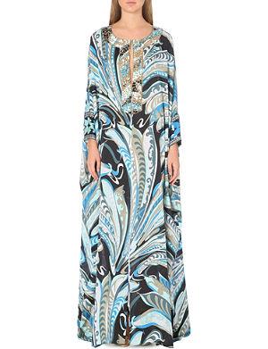 EMILIO PUCCI Embellished printed silk kaftan