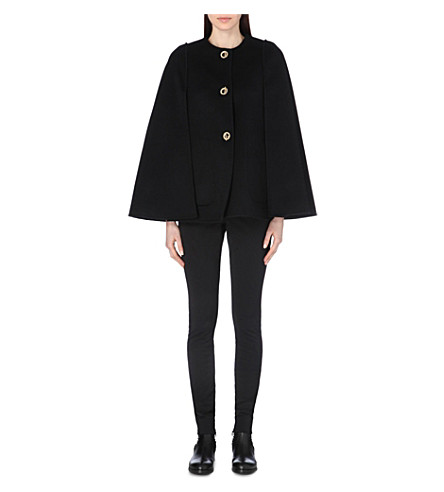 EMILIO PUCCI Toggle-fastened wool and angora-blend cape (Blk