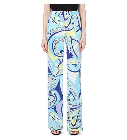 EMILIO PUCCI Abstract-print silk-crepe trousers (Blue