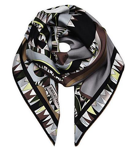 EMILIO PUCCI Printed silk scarf (Khaki